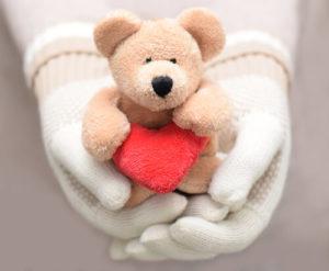 teddy bear in hands
